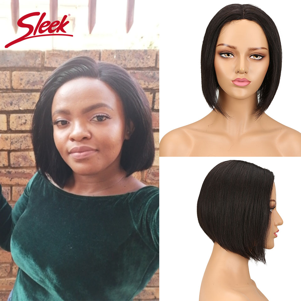 Sleek Bob Wig Short Human Hair Wigs 100% Remy Brazilian Hair Wigs U Part Lace Wigs Straight Hair Real Natural Color Lace Wigs