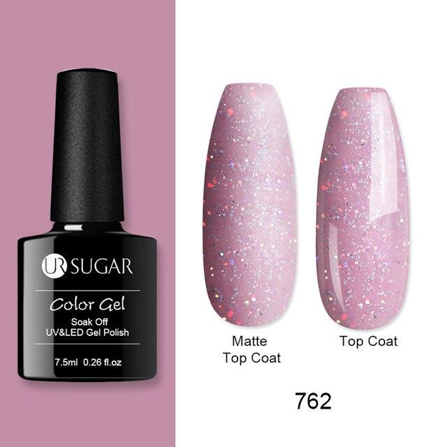 Гель-лак для ногтей UR SUGAR 7,5 мл, отмачиваемый Блестящий телесного цвета УФ Гель-лак светодиодный Гель-лак, матовый Базовый лак, верхнее покрыт...
