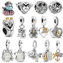 925 Sterling Silver Beads 14k Gold Two-tone Dangle Alice in Wonderland Charms Fit Original Pandora Bracelet Women Jewelry Gift