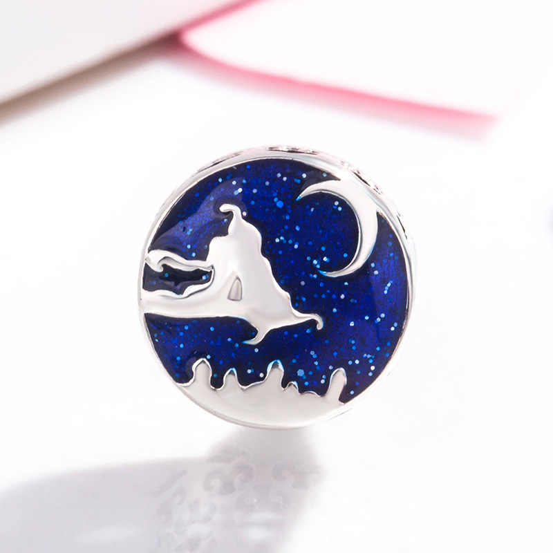 Ajuste original pandora encantos pulseira dos desenhos animados lua azul esmalte aladdin tapete mágico corrida contas diy pulseiras feminino jóias presente