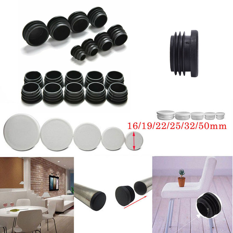 200pcs Round Plastic White Black Blanking End Cap Caps Tube Pipe Inserts Plug Bung For Furniture Chair Table Steel Leg Protector