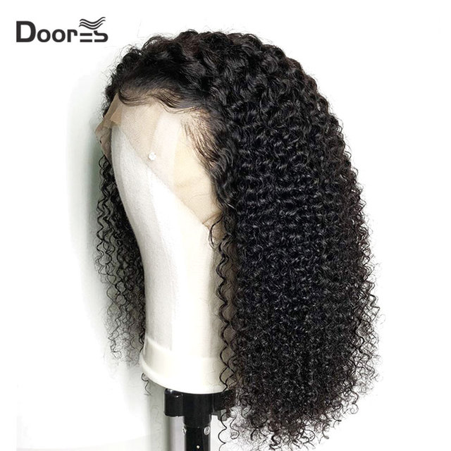 $ US $56.13 Mongolian Kinky Curly Wig Preplucked With Baby Hair 13x4 Front Lace Wig Remy Human Hair Wigs for Black Women 150 Density Doores