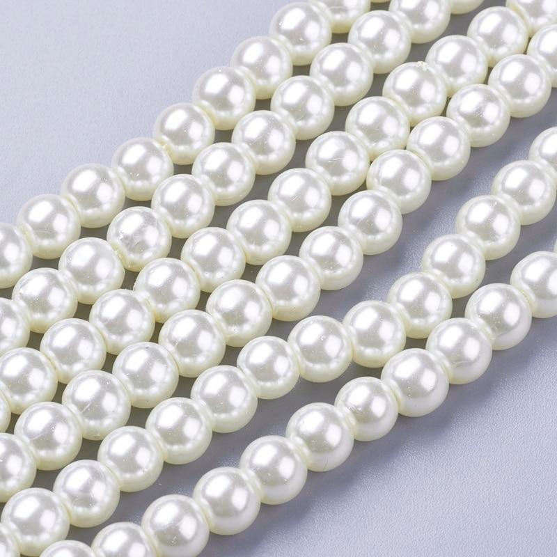 6mm perles de verre perles blanc verre Imitation ronde perles en vrac pour bijoux bracelet à bricoler soi-même collier faisant 140 pièces/brin F70