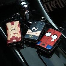 Чехол для ключей с героями мультфильмов и супергероями, маленькие кошельки для ключей, Марвел, летучая мышь, Человек-паук, Железный человек, кожаная сумка для ключей, милые брелки на молнии