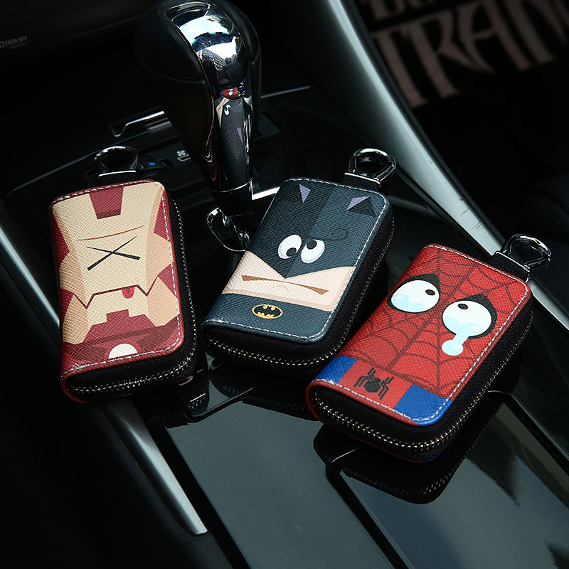 2020 New Cartoon Superhero Car Key Case Small Key Wallets Marvel Bat Man Spider Iron Man Leather Key Bag Cute Zipper Key Chains