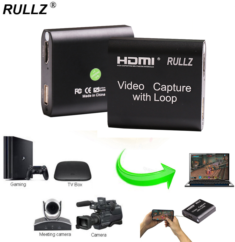 Rullz Loop Out Audio Video Capture Device HDMI Capture Card 4K 1080P USB 2.0 Game Record Live Streaming Box For PS4 DVD Camera