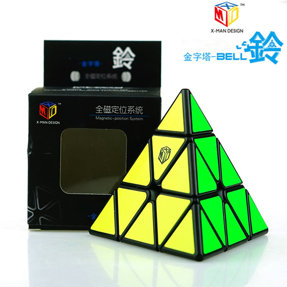 Qiyi Magic Cube X-Man Design Pyramid Bell 3x3 Cube 3x3x3 Magnetic Position System Magic Cube Professional Puzzle Toy Children