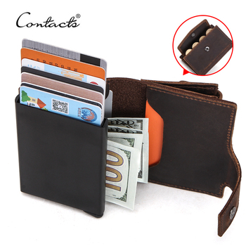 CONTACT'S RFID Blocking Crazy Horse Leather Coin Purse Pocket Credit Card Holder Aluminium Box for Men ID Card Case Men Wallet free shipping harry potter sherlock rick and morty wallet credit oyster license card men s purse with coin pocket