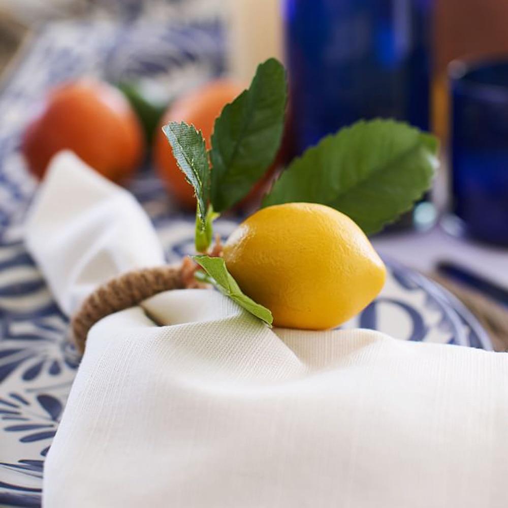 6 pçs simulação limão planta guardanapo anel de frutas refeição fivela hotel modelo sala guardanapo anel