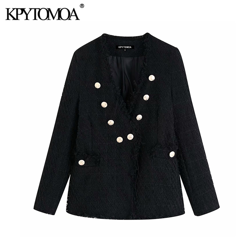 Vintage Stylish Frayed Tassel Double Breasted Blazers Coat Women 2020 Fashion V Neck Long Sleeve Female Outerwear Chic Tops