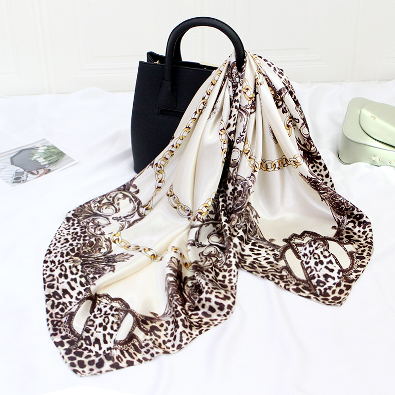 90*90cm Squar Shawls and Wraps Silk Satin Neck Scarf For Women Fashion Print Kerchief Hijab Scarf Female Hair Scarves For Ladies