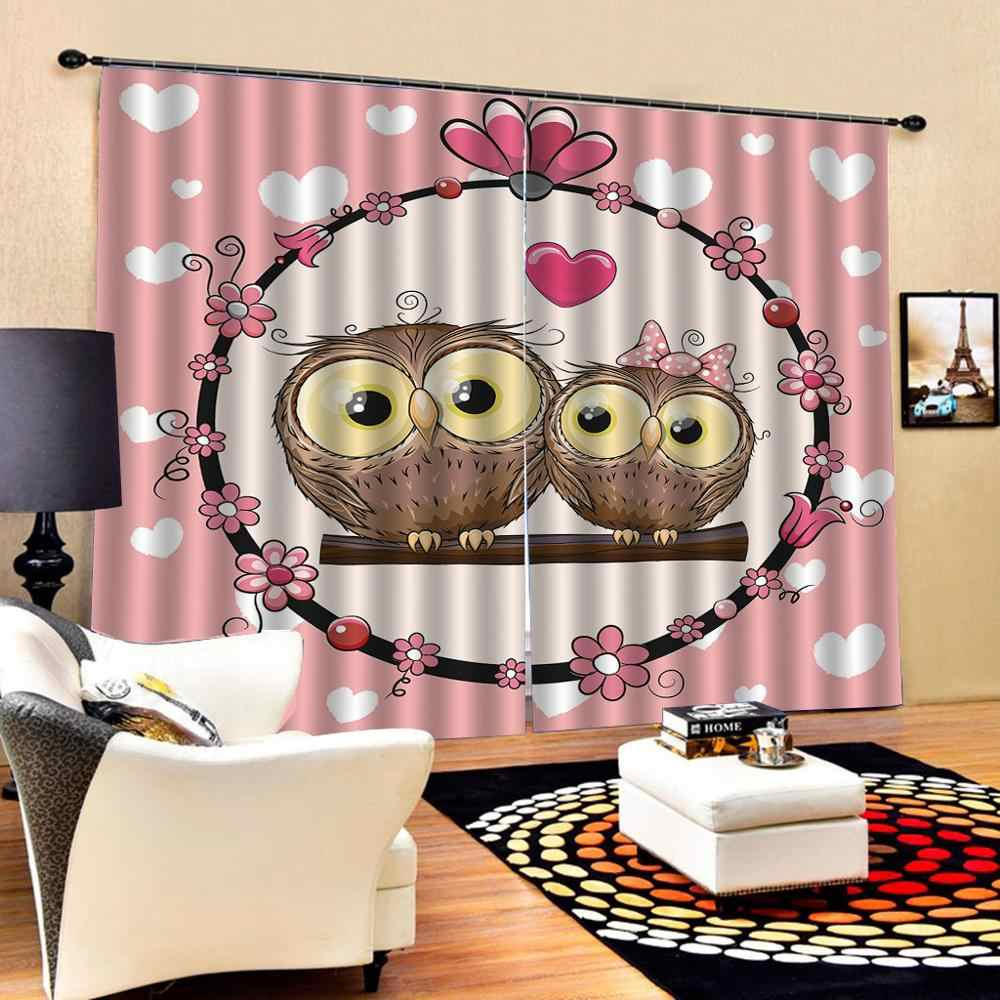 Cartoon Owls In Love Print Partners Couples Boho Style Hearts Flowers Curtain For Children S Room Bedroom Blackout Drapes Decor Curtains Aliexpress