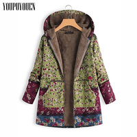 2019 Winter 4xl 5xl Plus Size Fleece Jacket Women Fall Winter Warm Thick Long Hooded Autumn Jackets Casual Ladies Floral Coat
