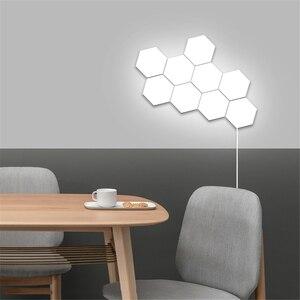 Image 4 - Lampe quantique moderne, éclairage sensible au toucher, lumière de la nuit, Hexagons magnétiques, décoration lampara murale pour le mariage de Restaurant