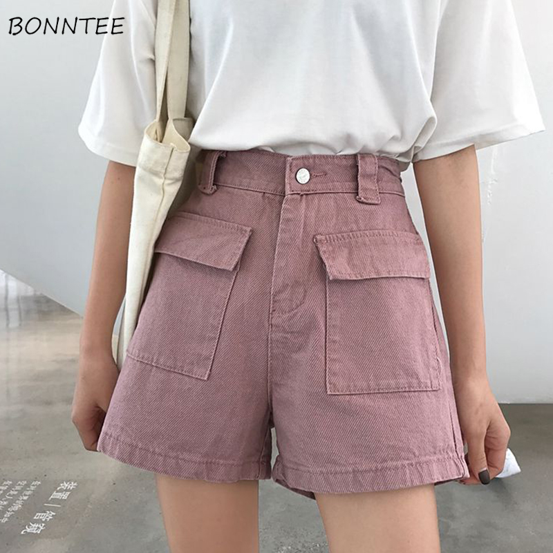 Shorts Women Spring Summer Chic Korean Style Simple All-match High Quality Ulzzang Harajuku Denim Streetwear Loose Womens Daily