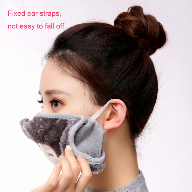 Mother and child Cute rabbit Ear protective kids mouth mask Windproof Mouth-muffle anti dust winter masks Children Anti Haze Flu 5