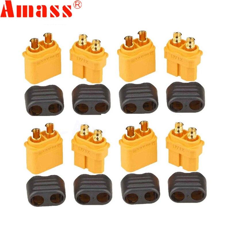 10 x Amass XT60 + ปลั๊กเชื่อมต่อมีปลอกหุ้ม 5 ชาย 5 หญิง (5 คู่)-ใน ชิ้นส่วนและอุปกรณ์เสริม จาก ของเล่นและงานอดิเรก บน title=