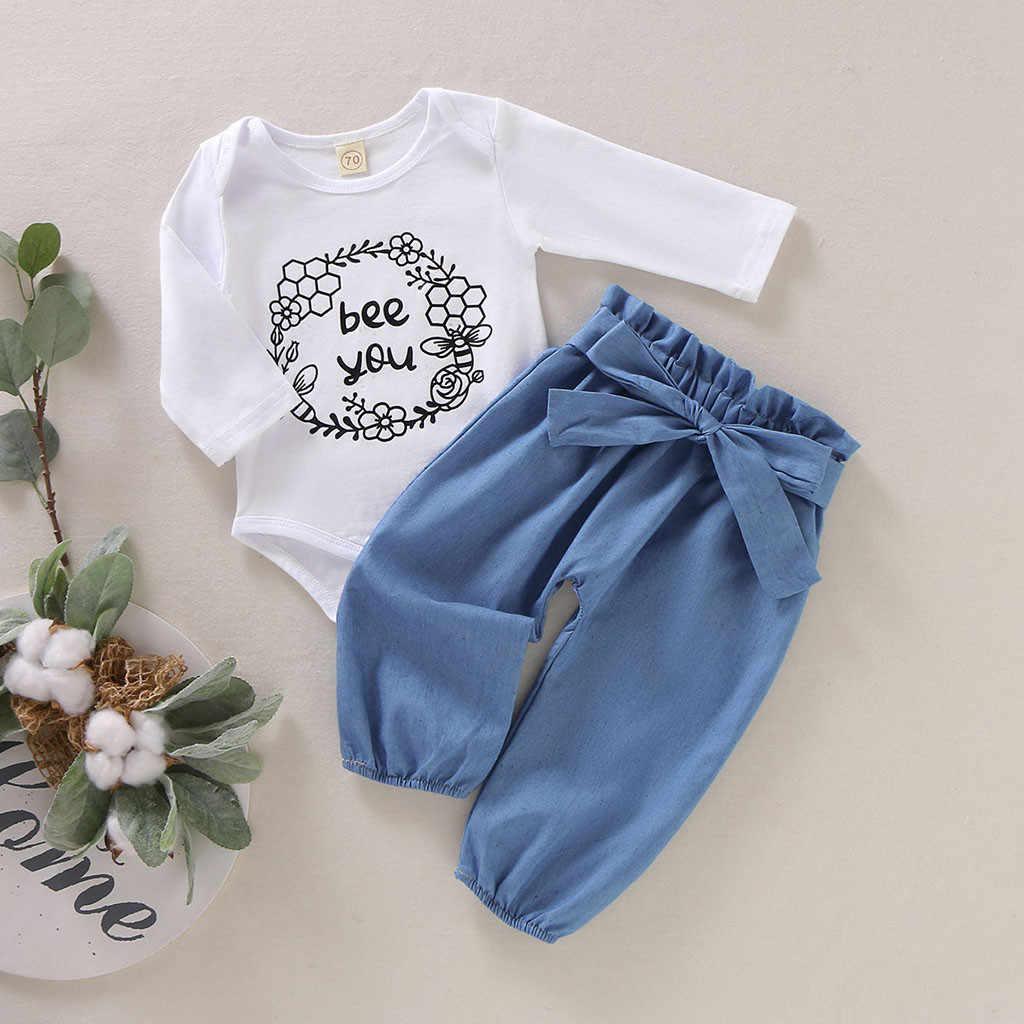 MUQGEW moda giyim kızlar için 2019 yeni bebek kız mektup Romper + ilmek taklit kot pantolon bebek kıyafetleri vetement enfant