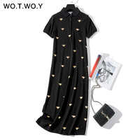 WOTWOY Bee Printed Loose Vintage Dress Women Cotton Casual Summer Black Polo Dresses Women Mid-Calf Straight Dress With Pockets