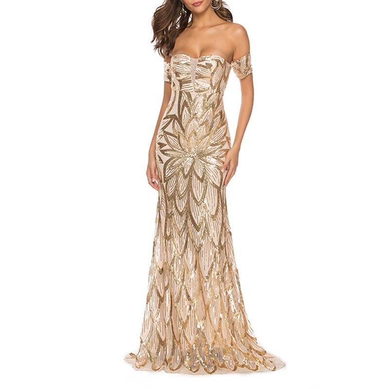 YULUOSHA Sexy Evening Gowns Backless V-Neck Sequined Floor-Length Women Dress Evening Party Formal Dress Women Elegant
