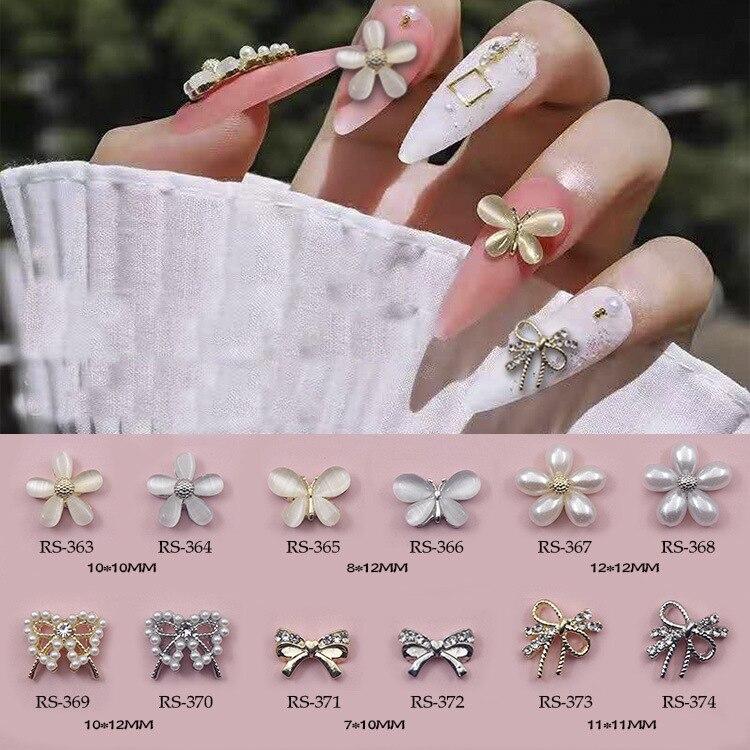 10 шт./лот, 3d дизайн ногтей, элегантный дизайн, сплав с жемчугом, кошачий глаз, камни, стразы, Типсы для ногтей, красота