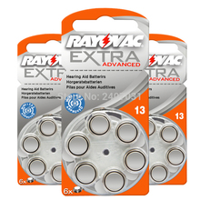Hearing Aid Batteries 60 PCS / 1 box RAYOVAC EXTRA A13/PR48/S13 Zinc Air batterie 1.45V   Size 13 Diameter 7.9mm Thickness 5.4mm