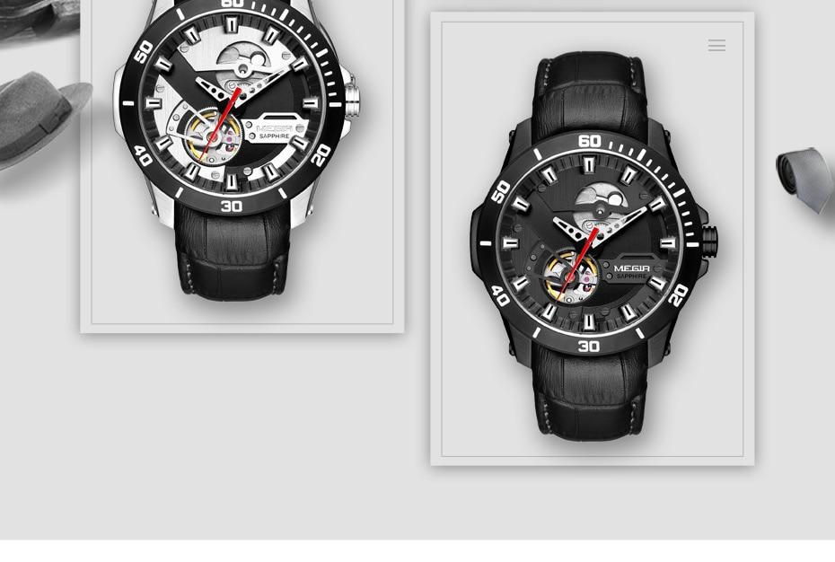 H8782490d6ec64129bd40585c5945e8cag MEGIR Men Mechanical Wristwatches Leather Strap Automatic Mechanical