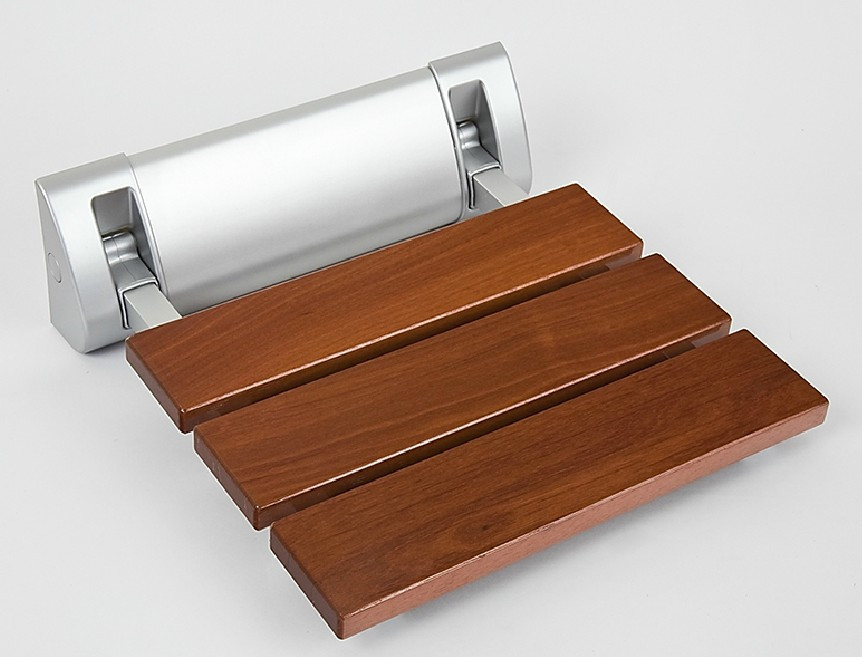 DIYHD 320mm Luxury Bathroom Solid Wood Folding Shower Seat Brushed Wall Mount Wide Base Shower Bench