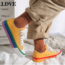 2019 Canvas shoes women Lace-up Sneakers Shallow Sweing zapatillas mujer Vulcanized Flat Lovers Shoes Women