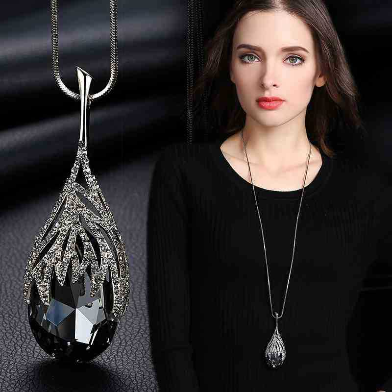 Shining CZ Water Drop Pendant Necklace Long Sweater Chain For Women Costume Jewelry 4 Colors