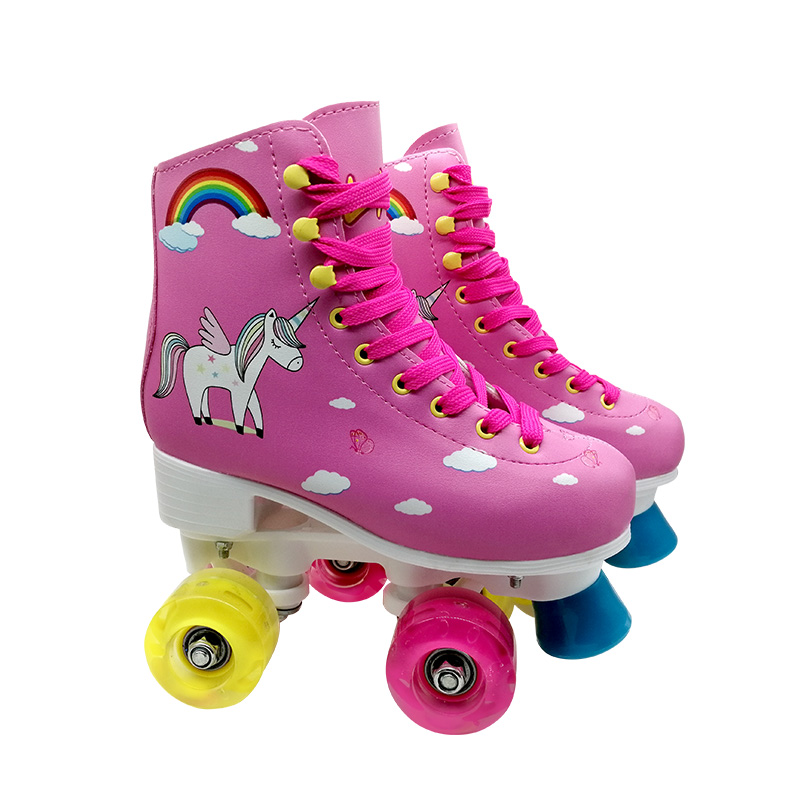 Pink Girls Inline Skates 4 Size Adjustable with Full Light Up Wheels,Fun Illuminating Roller Skates Blading for Kids and Youth,Men and Women