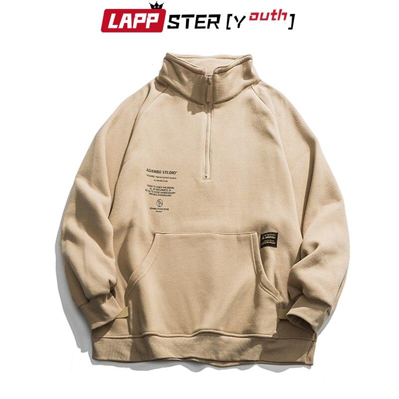 LAPPSTER-Youth Men Fleece Pocket Harajuku Hoodies 2020 Mens Oversized Streetwear Sweatshirts Korean Hoodie Hip Hop Black Clothes