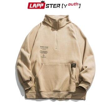Lappster-青年男性フリースポケット原宿パーカー 2020 メンズ特大ストリートスウェット韓国パーカーヒップホップ黒服