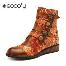 Shoes Women Butterfly SOCOFY Knot-Buckle Boots Ladies Zipper Genuine-Leather Metal Retro