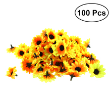 100 個リアルな人工プラスチックヒマワリヘッドホームパーティーの装飾の小道具 (黄色)