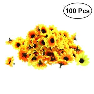 Image 1 - 100 個リアルな人工プラスチックヒマワリヘッドホームパーティーの装飾の小道具 (黄色)