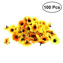 Bộ 100 Sống Động Như Thật Nhựa Nhân Tạo Hoa Hướng Dương Đầu Nhà Trang Trí Tiệc Đạo Cụ (Vàng)