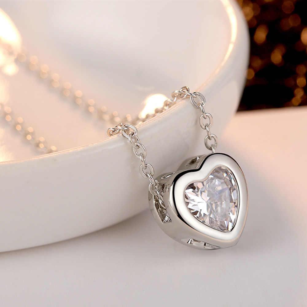 สไตล์เกาหลีสไตล์โปร่งใสสร้อยคอจี้หัวใจรักหัวใจจี้แฟชั่น Zircon สร้อยคอเครื่องประดับ