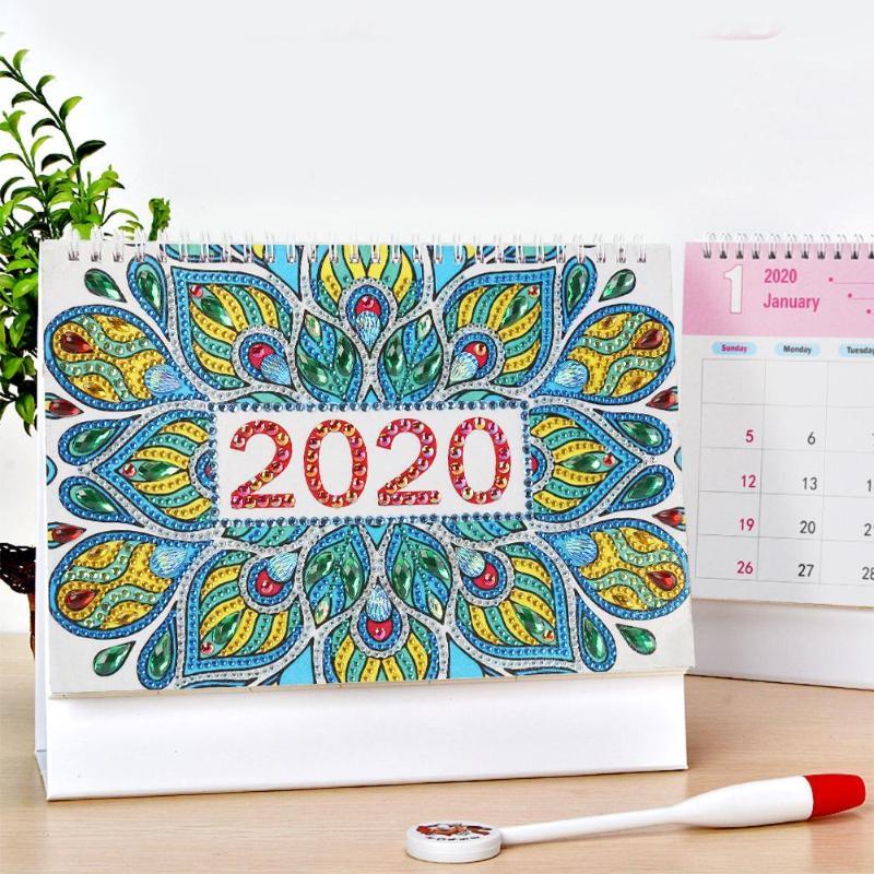 2020 Mandala Calendar DIY Drill Special Shape Diamond Painting Ornament Cross Stitch Agenda Organizer Home Bedroom Decoration