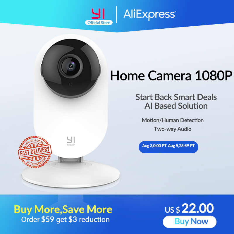YI Home Camera 1080P IPในร่มIPกล้องHD Night Vision AI Human Detection /Motion Detectionสำหรับhome/Office Security