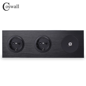 Image 1 - Coswall שחור אלומיניום מתכת פנל 16A כפול איחוד אירופי תקן שקע חשמל מעוגן + 1 כנופיית נשי טלוויזיה מחבר R12 סדרה