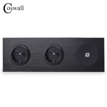 Coswall Black Aluminum Metal Panel 16A Double EU Standard Wall Power Socket Grounded + 1 Gang Female TV Connector R12 Series