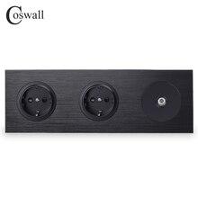 Coswall Schwarz Aluminium Metall Panel 16A Doppel EU Standard Wand Steckdose Geerdet + 1 Gang Weibliche TV Stecker R12 serie