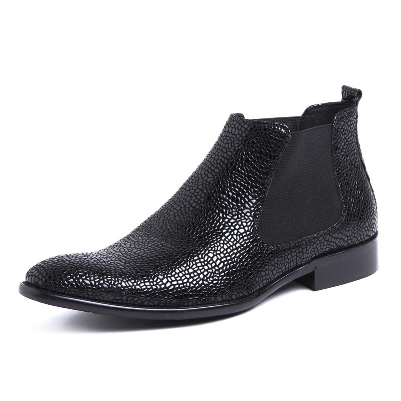 Fashion Snake Men Business Dress Shoes Luxury Genuine Leather Wedding Chelsea Boots Slip On Pointed Toe Prom Party Ankle Boots