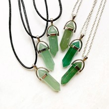 Green Aventurine Stone Pendant Natural Crystal Hexagonal Column Crystal Pendant Necklace Link Chain Black Cord(China)