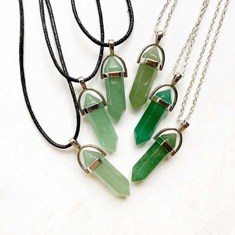 Green Aventurine Stone Pendant Natural Crystal Hexagonal Column Crystal Pendant Necklace Link Chain Black Cord