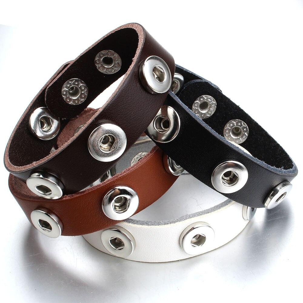 חדש תכשיטי הצמד הצמד כפתור שעונים צמיד 12mm הצמד צמידי שלושה כפתור עור צמיד לנשים גברים