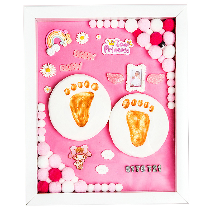 Diy Baby Frame Hand and Foot Print Mud Birthmark Souvenir Newborn Hand and Foot Print Full Moon Gift Baby Toy Photo Frame Baby