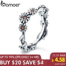 Bamoerホット販売 100% 925 スターリングシルバーツイストデイジーの花の女性の指輪ウェディングシルバージュエリーと操作SCR298