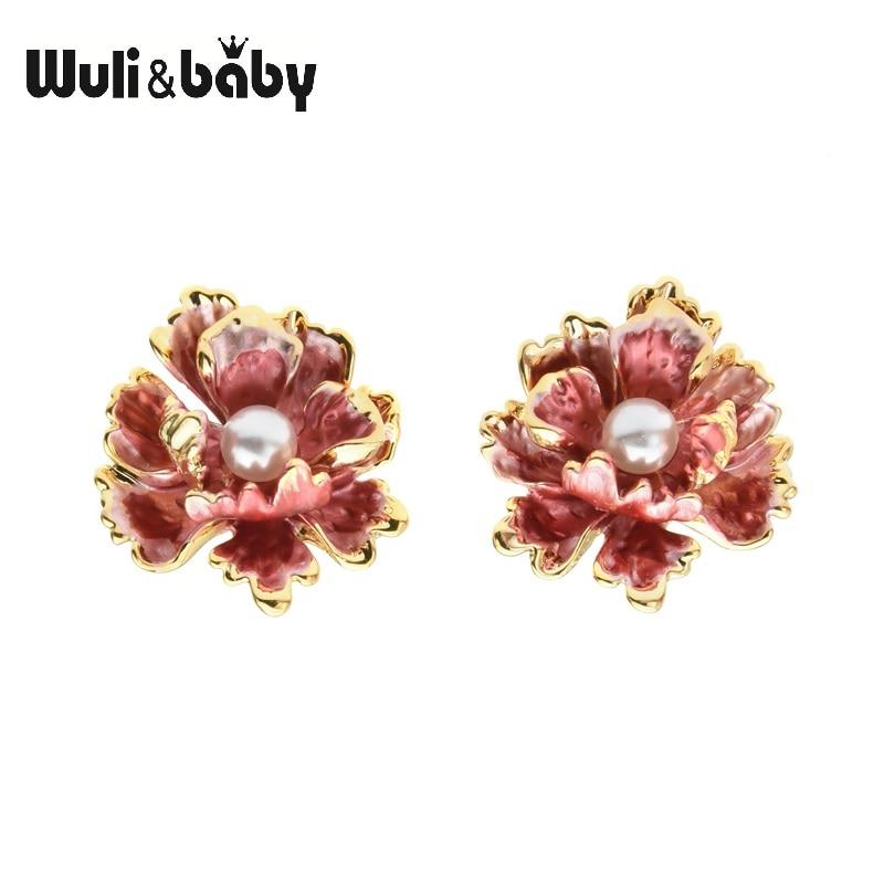 Wuli&baby Red Peony Flower Stud Earrings Women Beautiful Enamel Gifts